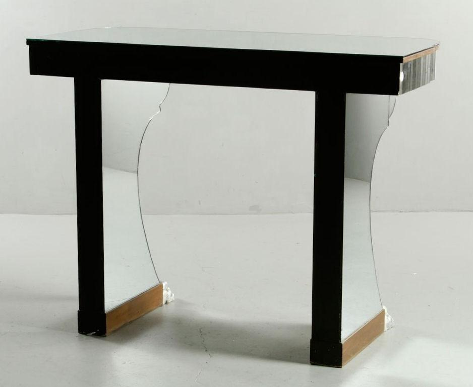 Pair Mirrored Console Side Tables in Manner of Serge Roche (1898-1988)