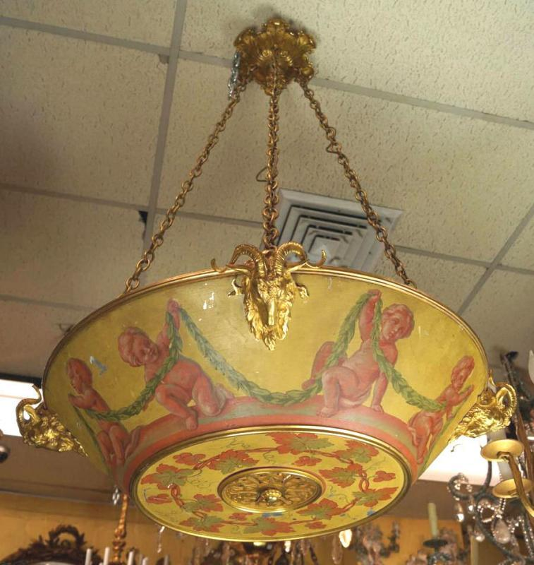 Louis XV Style Painted Tole Metal and Gilt Bronze Chandelier