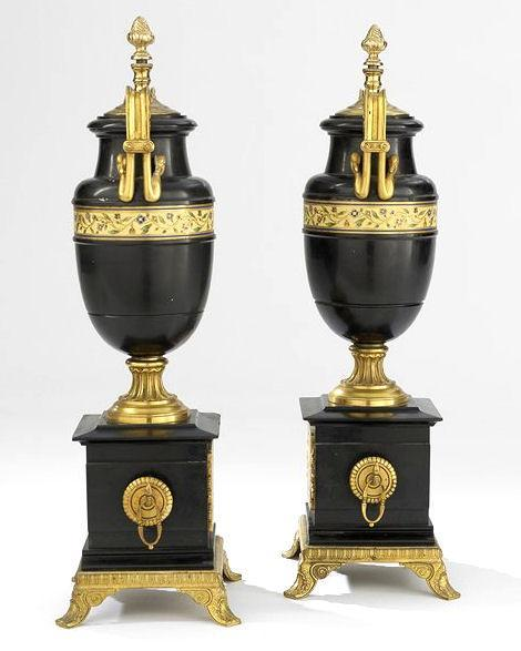 Pair Antique Aesthetic Period Gilt Bronze Mounted Marble Urns with Cloisonne Enamel Decoration