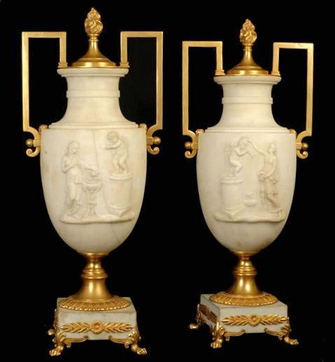 Pair of Italian Neoclassical Alabaster & Bronze Urns / Table Lamps