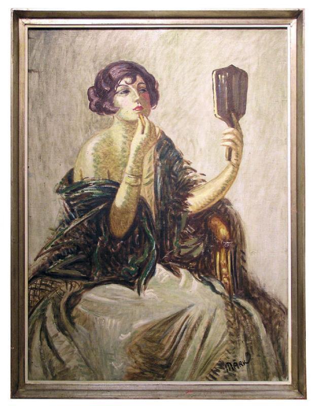 Lajos Mark (1867-1942) Hungarian Female Portrait Oil Painting