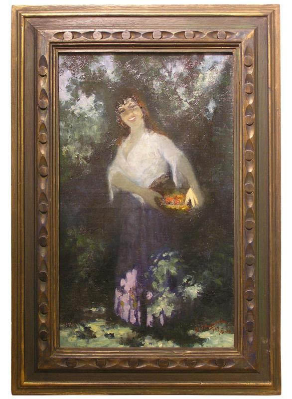 Georges Simonka Hungarian Mid-Century Female Portrait Oil Painting (1949)