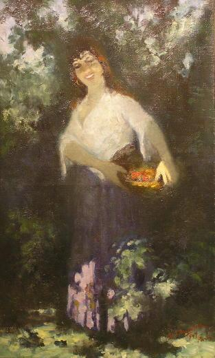 Female Portrait Oil Painting by Hungarian Georges S. Monka (1916-2001)