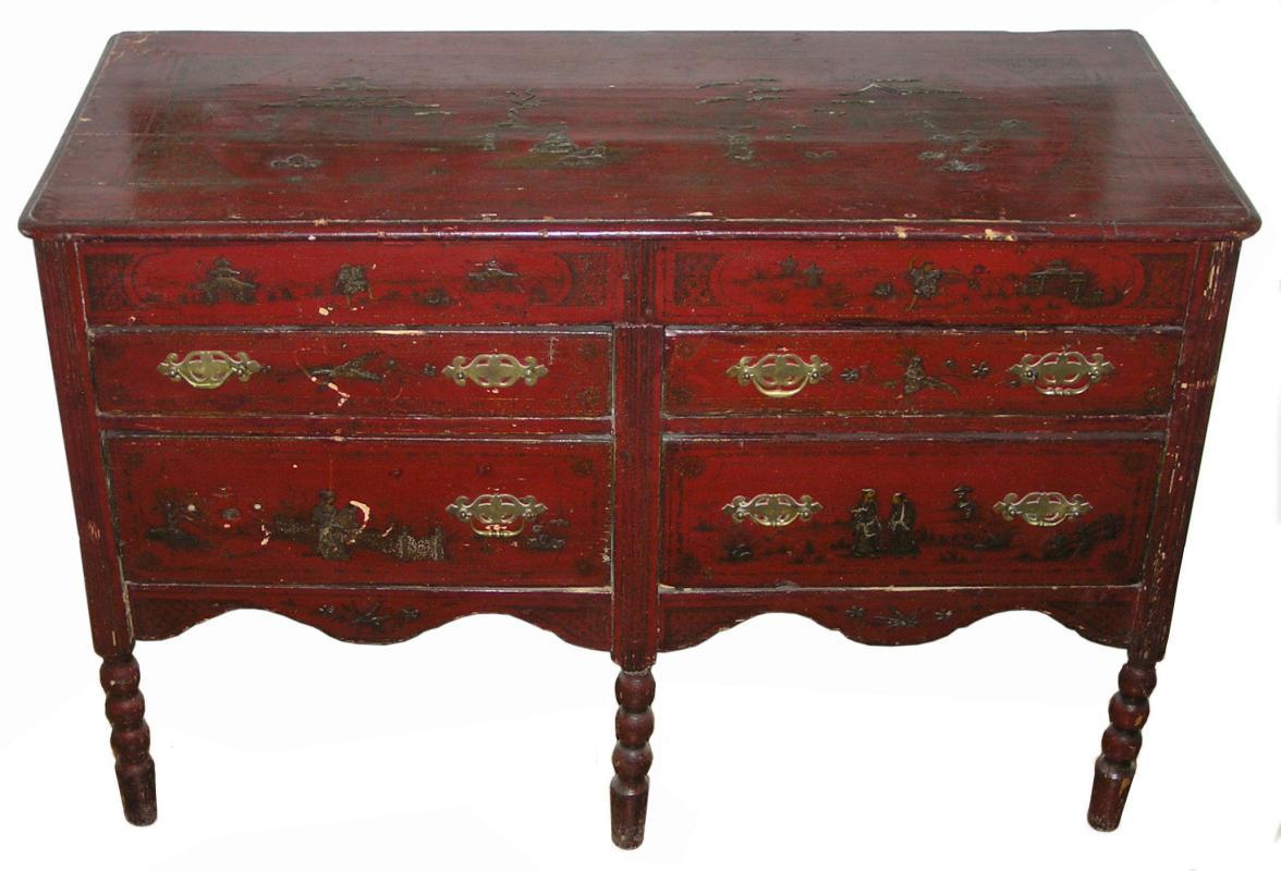 Antique 18th Century William & Mary Style Chinoiserie Chest