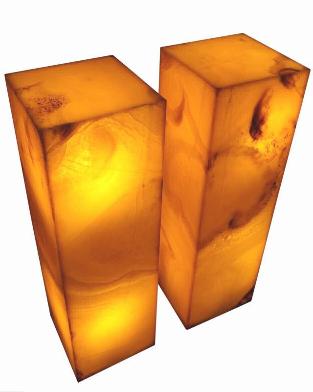 Pair Contemporary Amber Onyx Stone Lamps