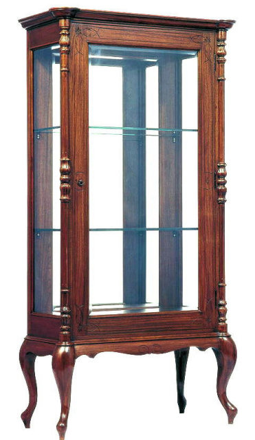 Antique Anglo-Indian Teak Wood Vitrine Display Cabinet