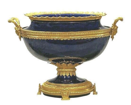 Gilt Bronze Mounted Cobalt Blue Porcelain Centerpiece