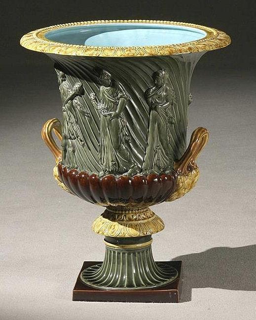 Sarreguemines Majolica Campana Form Jardiniere After the Borghese and Medici Vases