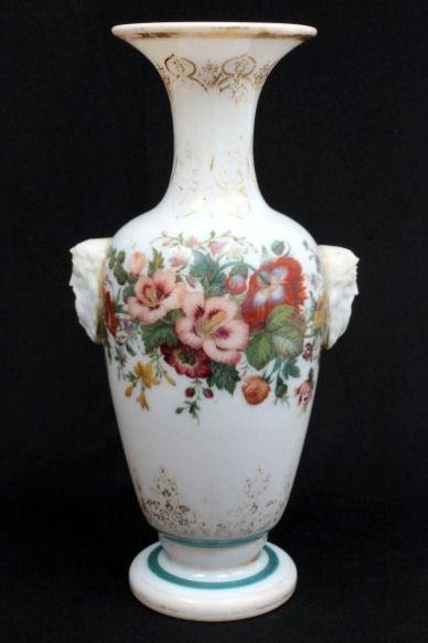 Gilt and Floral Painted Opaline Glass Vase Attributed to Baccarat