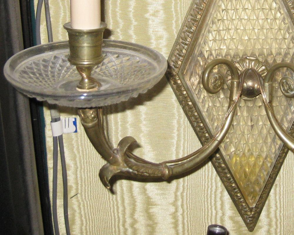 Pair Antique Regency Style 2-Candle Sconces Attributed to Baccarat