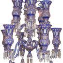 Palatial Antique Bohemian Blue Cased Glass Chandelier Made for Islamic Market