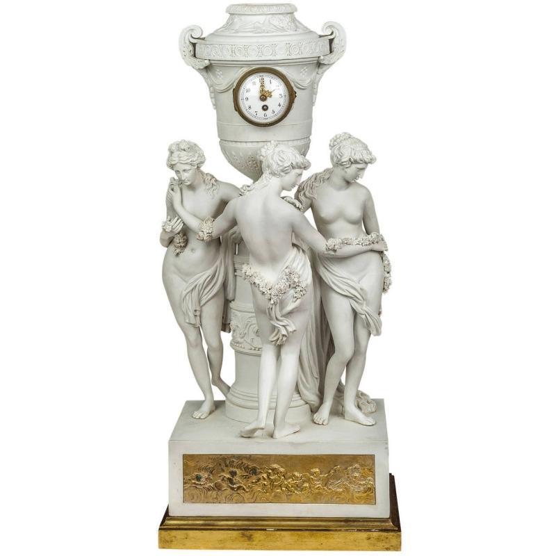 Porcelain Mantel Clock Depicting Three Graces After Canova