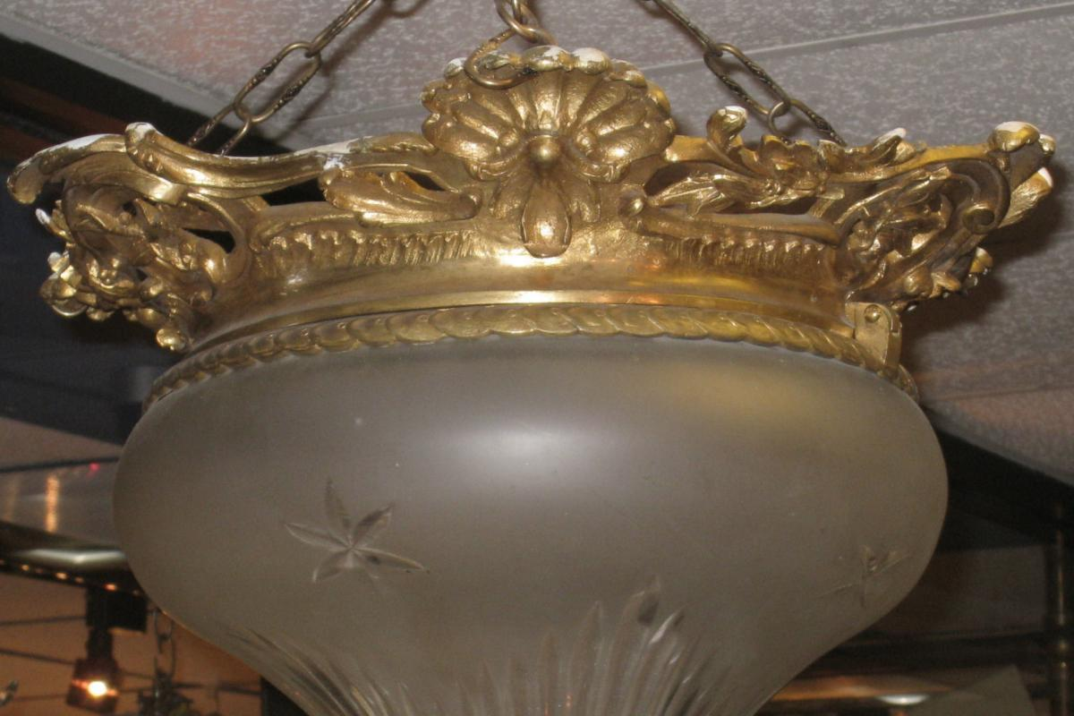 Louis XVI Style Dore Bronze  & Etched Crystal Coupe Chandelier