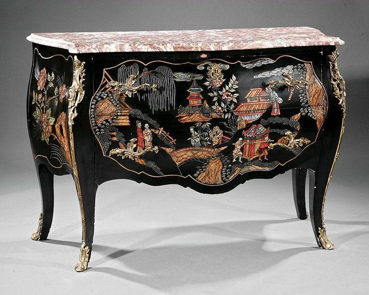 Louis XVI Style Chinoiserie Gilt Metal Mounted Commode Chest of Drawers