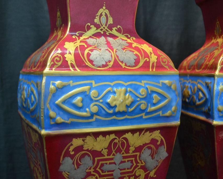 Pair Antique Paris Porcelain Red and Blue Parcel Gilt Vases