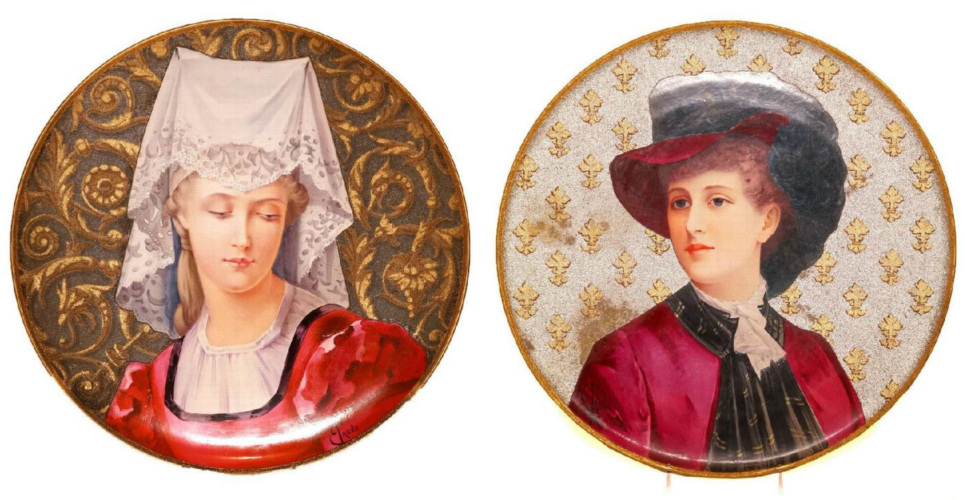 Pair Antique French Earthenware Portrait Chargers by Pages