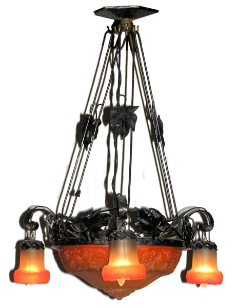 Art Nouveau Wrought Iron & Glass Chandelier