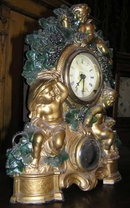 Bacchic Themed Cold-Painted Bronze Mantel Clock from Waterbury Clock Company