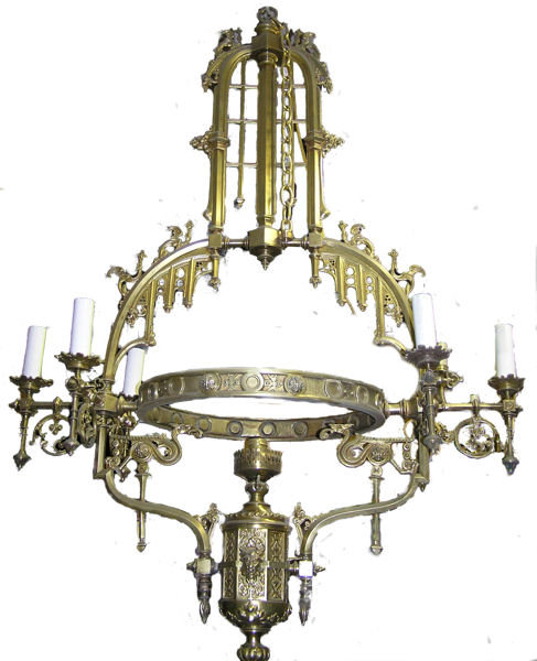 Bronze Gothic Revival Electrified Chandelier