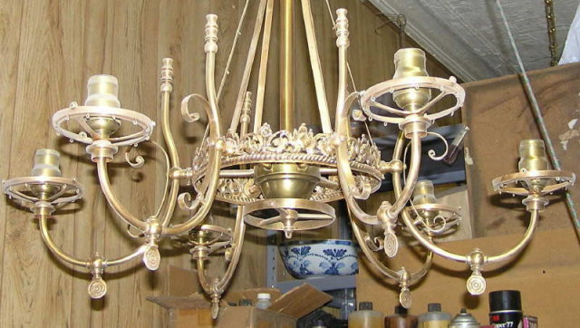 Electrified Victorian Gas Bronze Chandelier