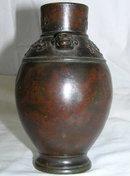 Antique Japanese Patinated Bronze Vase