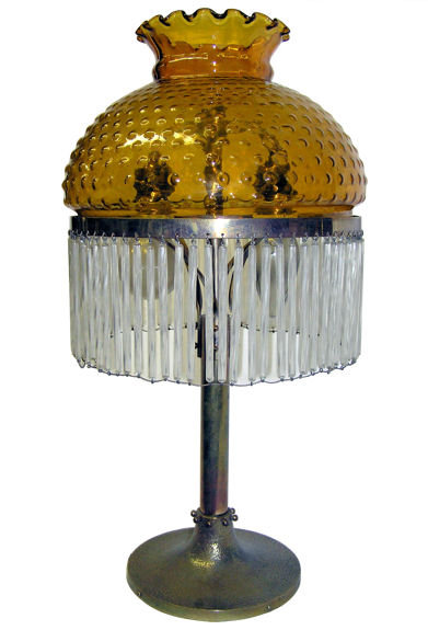 Arts & Crafts Table Lamp w Dangling Crystals