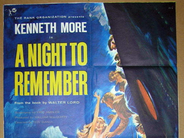 Titanic Film A NIGHT TO REMEMBER 1 Sheet Movie Poster (1959)
