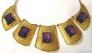 Egyptian 14K Gold Necklace Earrings Set