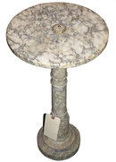 Antique Round White Marble Pedestal Table