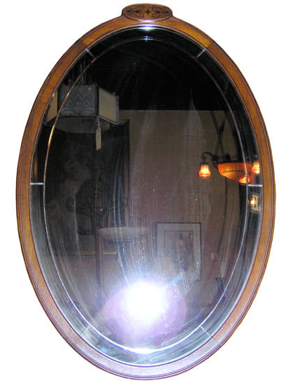 Oval Fruitwood Wall Mirror with Floral Inlay