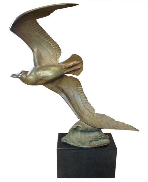Andre Vincent Becquerel (1883-1981) Bronze Seagull Sculpture
