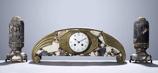 French Art Deco Marble Clock & Obelisque Set