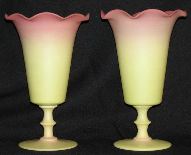 Mt. Washington or Webb Burmese Peachblow Glass Vases