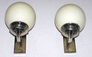 Pair Machine Age Art Deco Chrome Sconces
