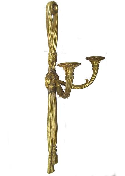 Pair Antique Bronze Louis XVI Style Ribbon & Tassel Form Sconces
