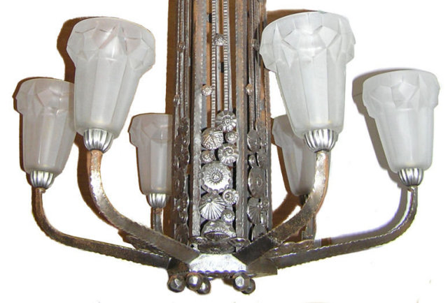 Degue Art Deco Period Glass and Wrought Iron Chandelier in Manner of Paul Kiss