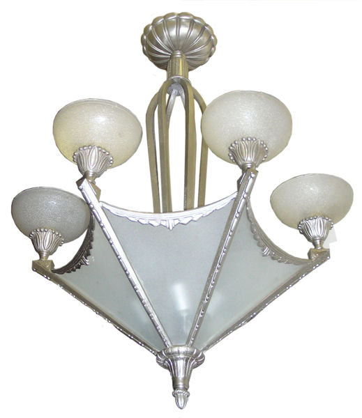 Muller Freres Art Deco Nickel Chandelier