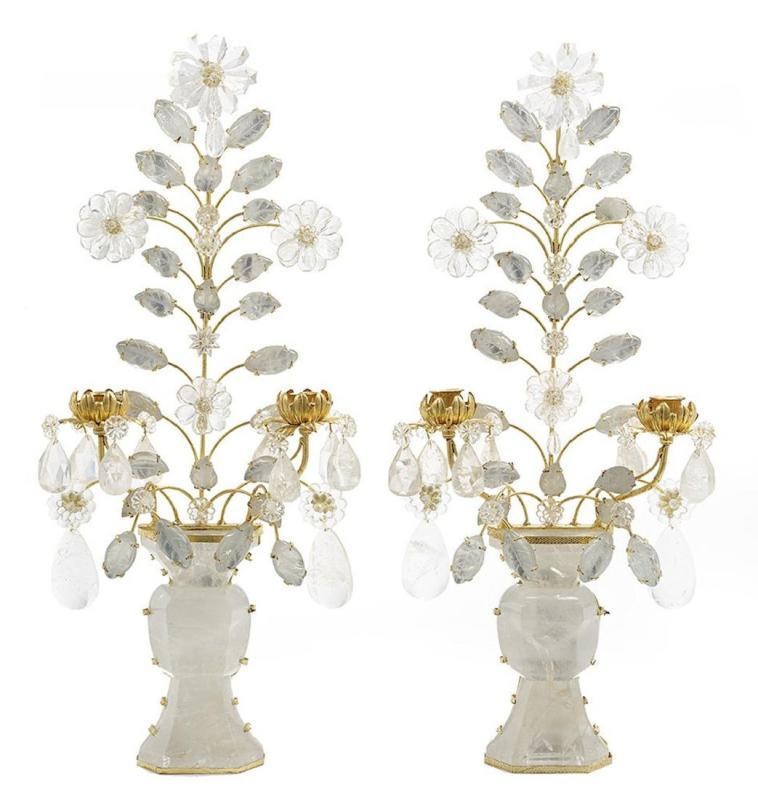 Pair French Bagues Style Rock Crystal and Gilt Metal Sconces