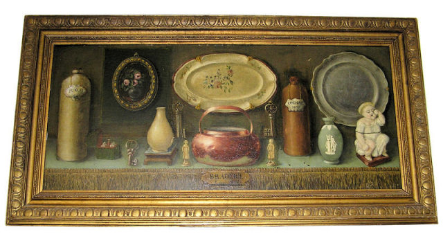 Antique Trompe L'Oeil Still Life Oil Painting on Board by Van den Berg