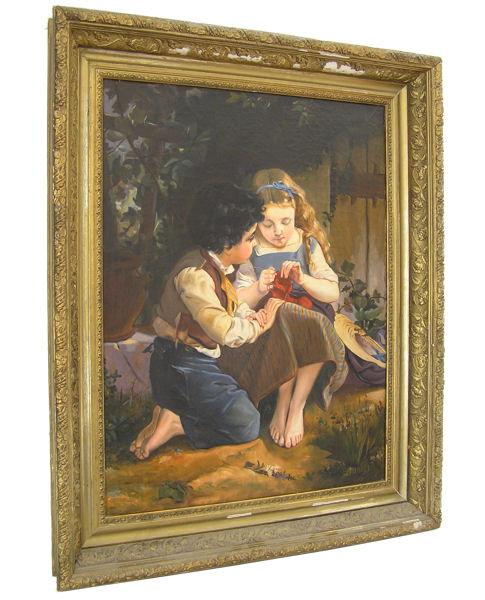 Le Leçon de Tricot ( Special Moment ) After Emile Munier (1840-1895)