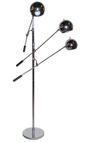 Sonneman Mid-Century Chrome Floor Lamp