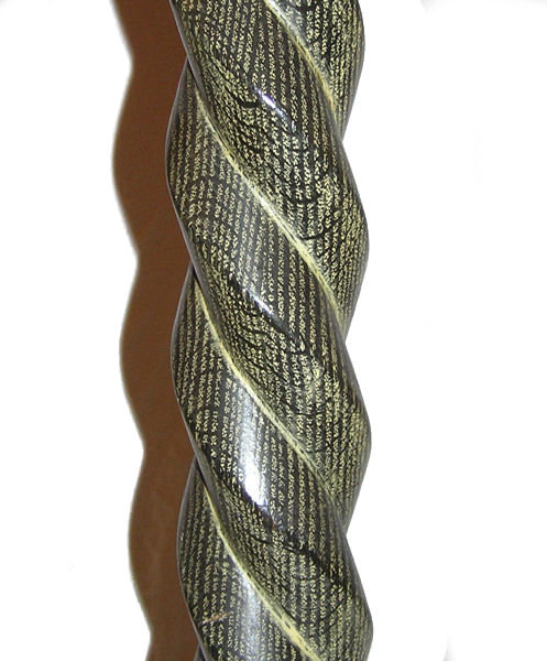 Mid-Century Modern Barley Twist Wooden Floor Lamp with Green Limed Finish