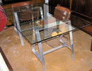 Aluminum Saw Horse Glass Dining Table