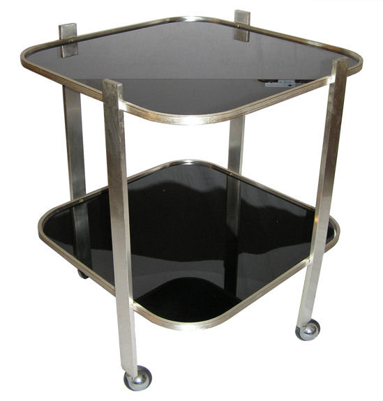 Mid-Century Modern Nickel & Glass Cocktail Bar Cart