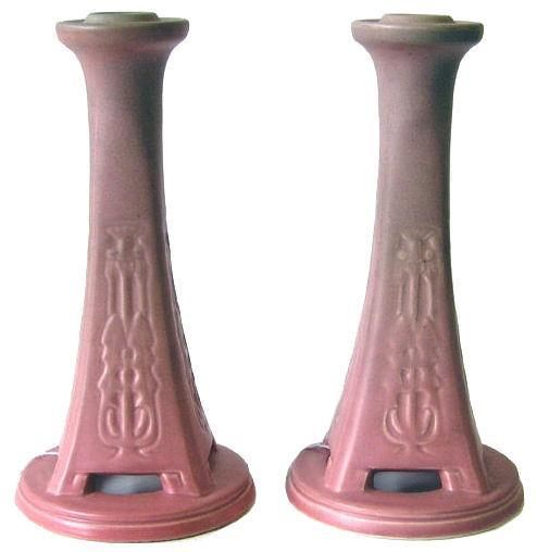 Pair Rookwood Red Glaze Candlesticks from 1920