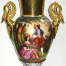 Antique Parcel Gilt and Hand-Painted Paris Porcelain Vase