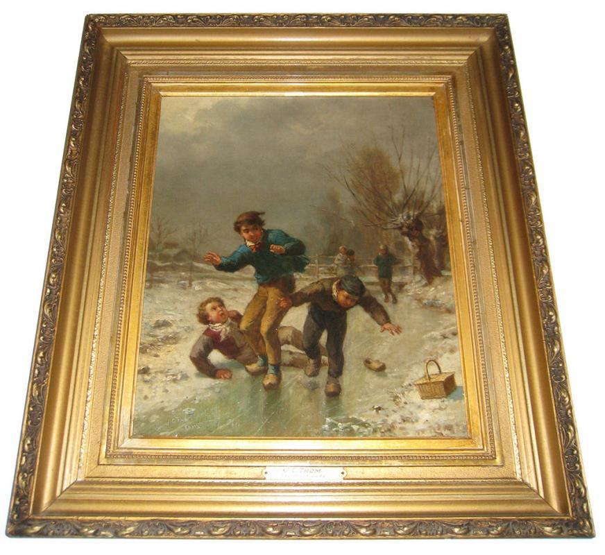 James Crawford Thom (1835-1898) American Winter Genre Painting