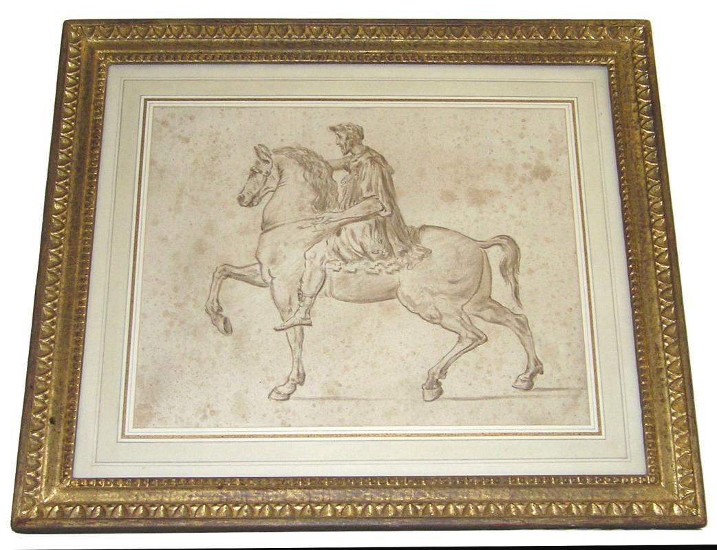 Roman Marcus Aurelius Italian School Ink on Paper Drawing