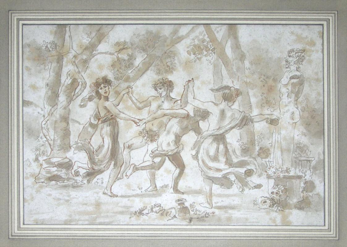 Antique French School Roman Bacchanale Ink Drawing
