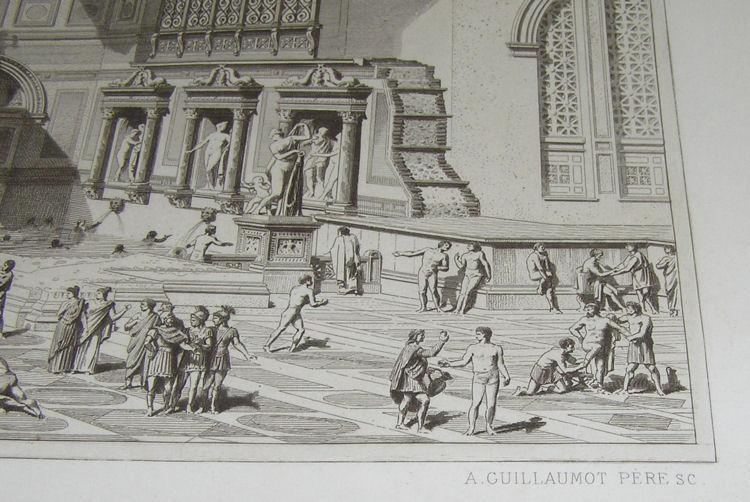 Roman Baths of Diocletien 19th Century Engraving by Charles Chardon